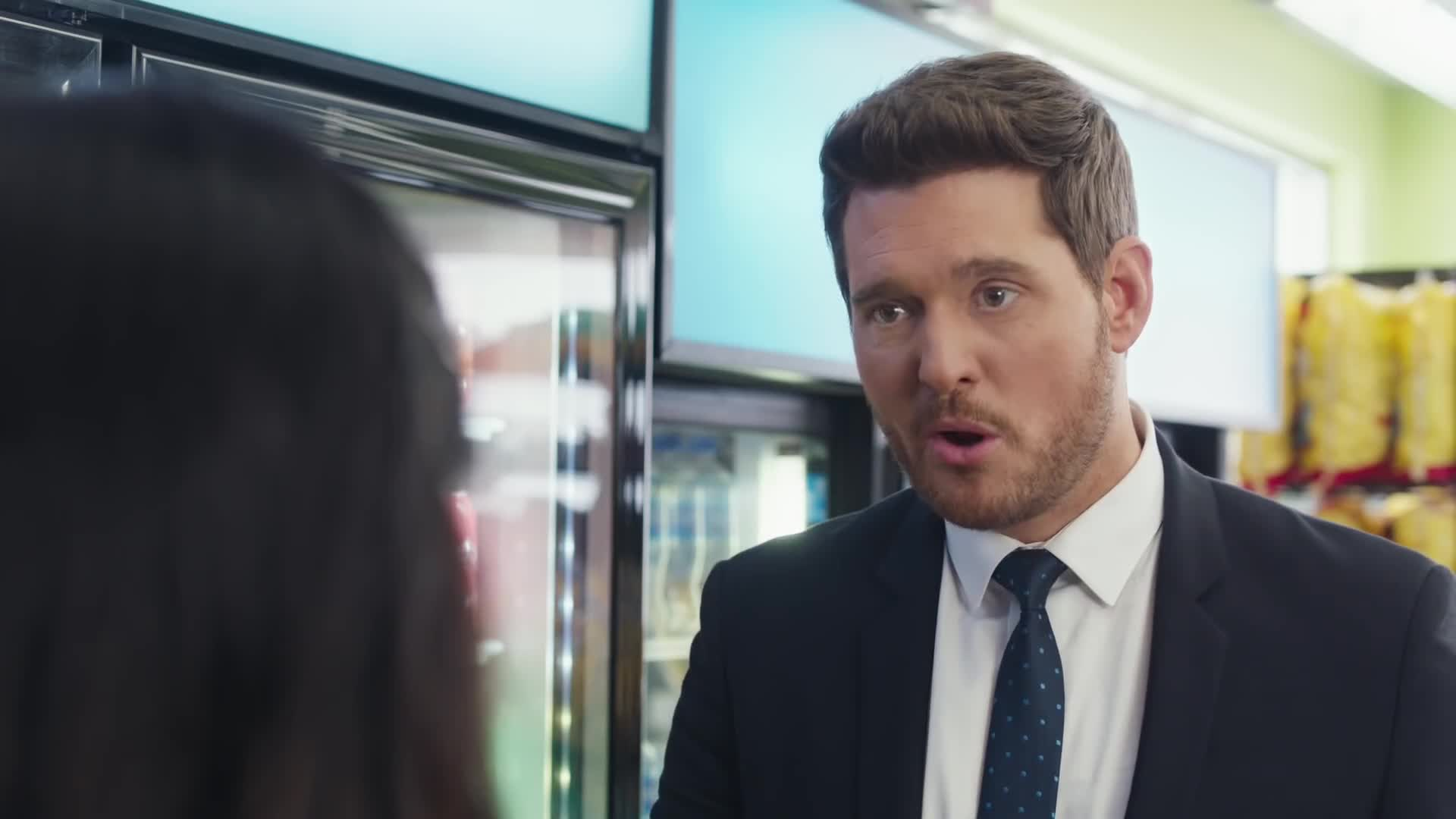 Michael Buble vs bubly - Super Bowl Commericial screen capture