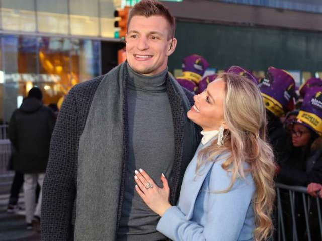See Rob Gronkowski and Girlfriend Camille Kostek Share a New Year's Eve Kiss in Times Square