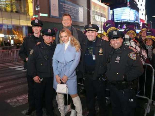Watch: Rob Gronkowski and Girlfriend Camille Kostek Lead New Year's Eve Crowd in Massive 'YMCA' Party