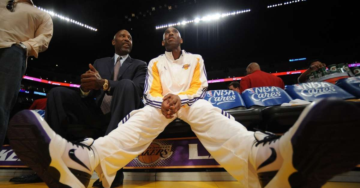 Kobe Bryant James Worthy throwback photo NBA star