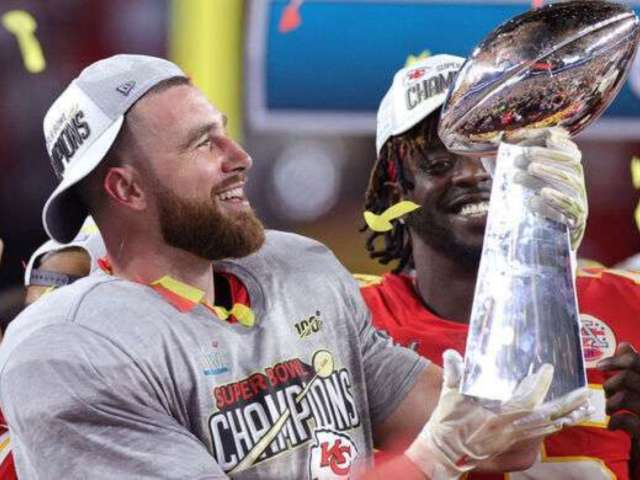 Super Bowl 2020: Chiefs TE Travis Kelce Celebrates Win by Chugging Beer off Lombardi Trophy