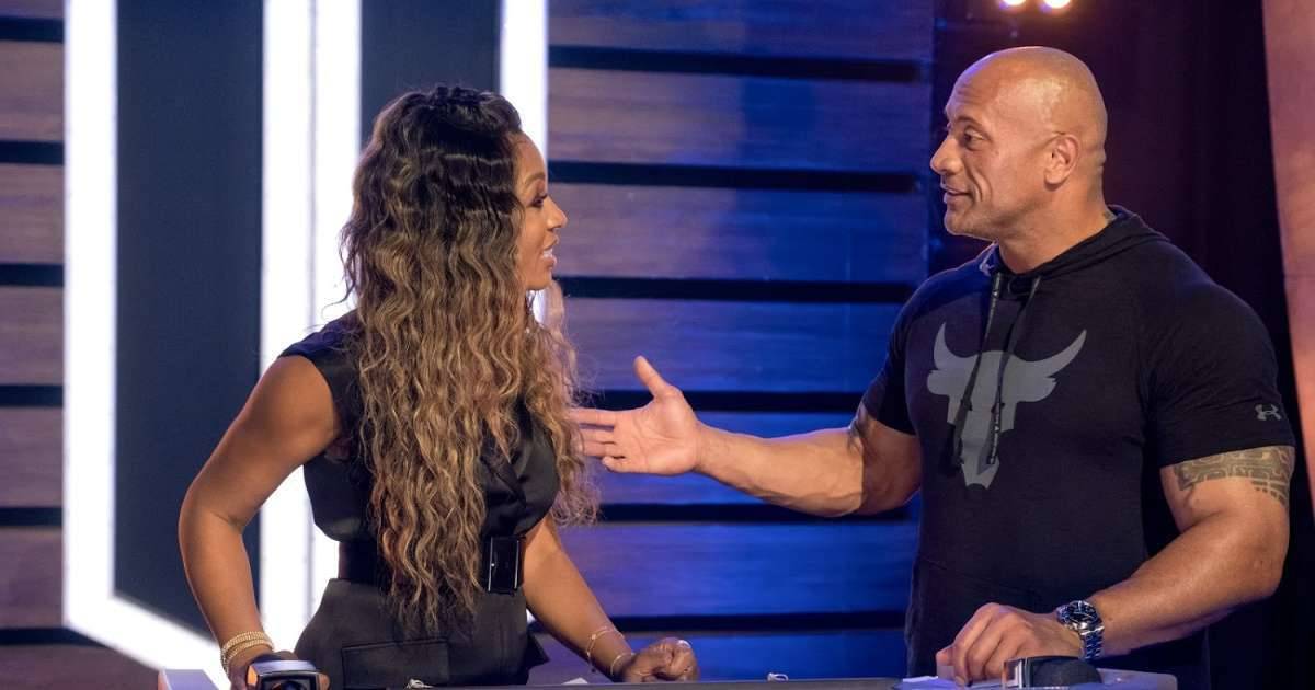 Cari Champion working with Dwayne The Rock Johnson he has it