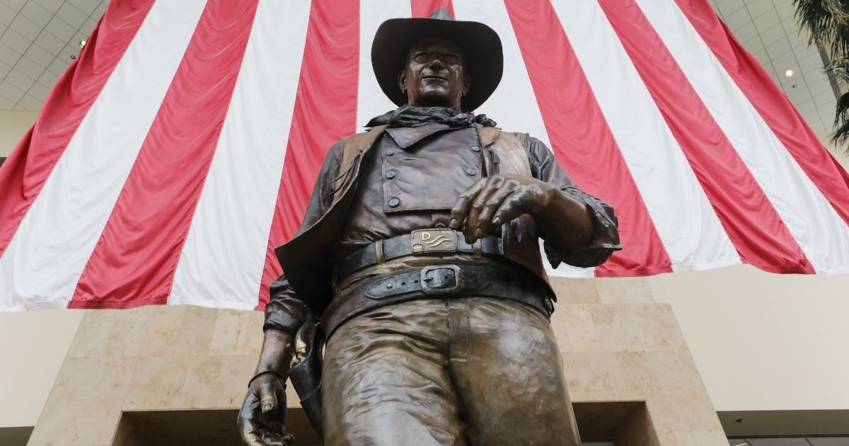 john wayne airport statue getty images