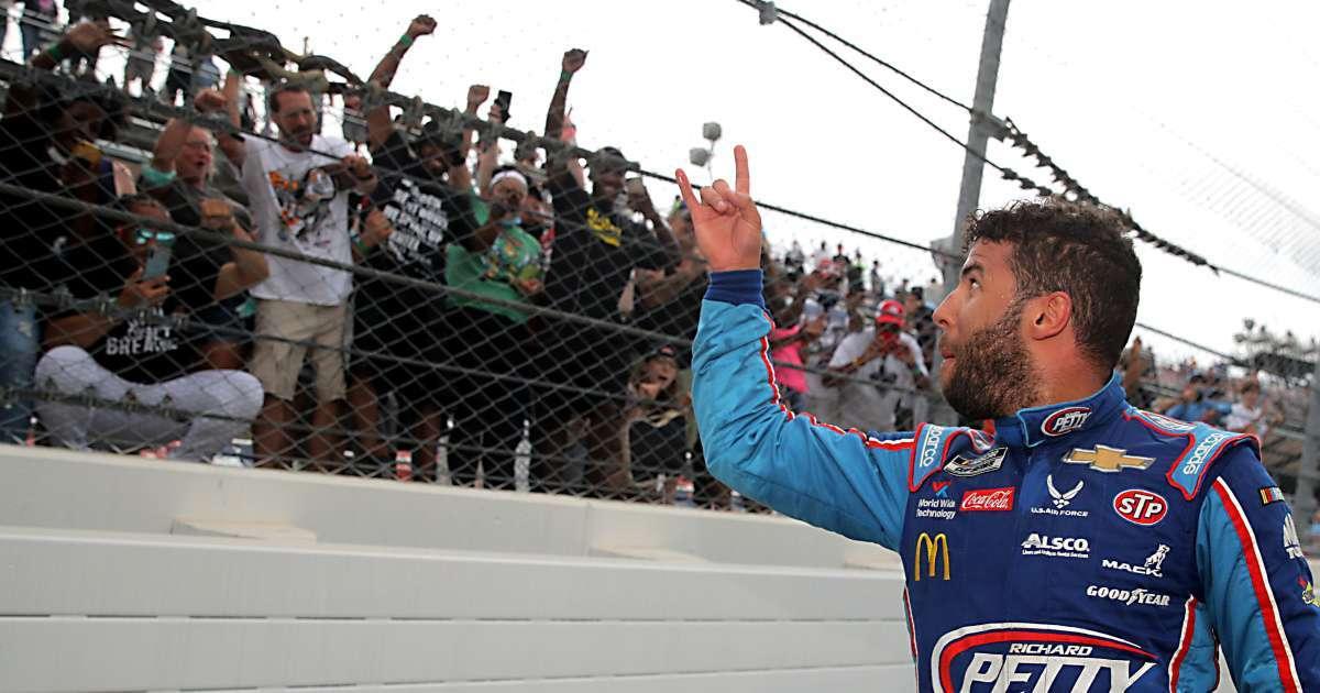 NASCAR shares photo noose Bubba Wallace garage Talladega Speedway