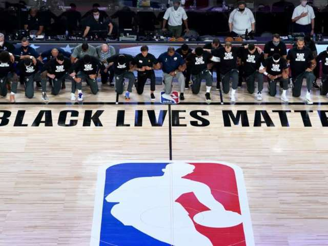 Watch: All Members of Pelicans and Jazz Kneel During National Anthem in First NBA Return Game