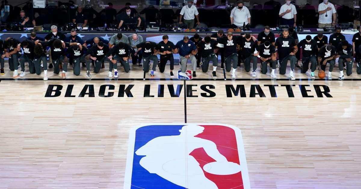 Pelicans Jazz kneel national anthem NBA return game