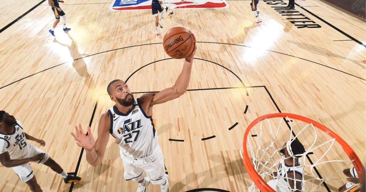 Utah Jazz Rudy Gobert scores first basket NBA restarted season months after COVID-19 test