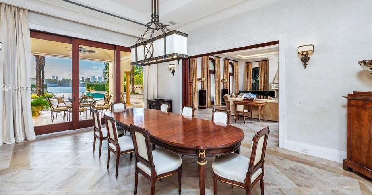 Alex Rodriguez Jennifer Lopez Miami estate dining room