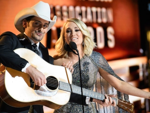 Carrie Underwood and Brad Paisley Performing on the Opry