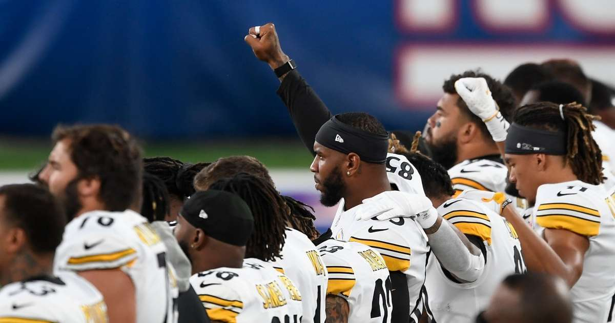 Steelers against racism banner national anthem monday night football