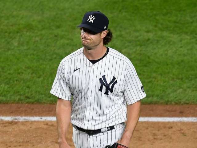 Watch: Yankees' Gerrit Cole Hits Umpire in the Face With 99 MPH Fastball