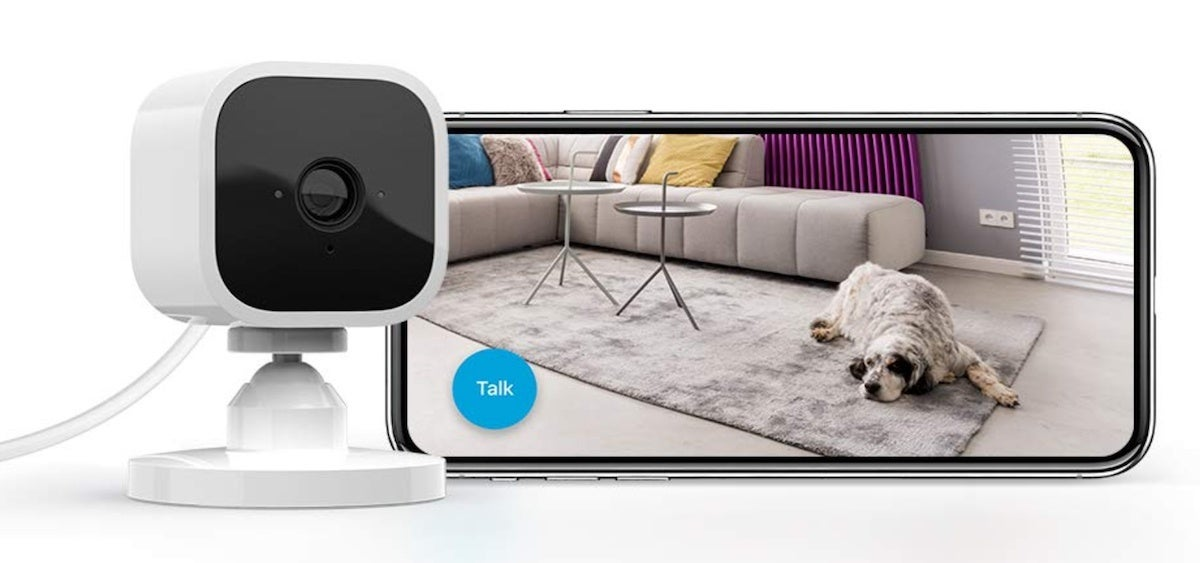 amazon-prime-day-deals-Blink Mini – Compact indoor plug-in smart security camera 1080 HD video motion detection night vision Works with Alexa
