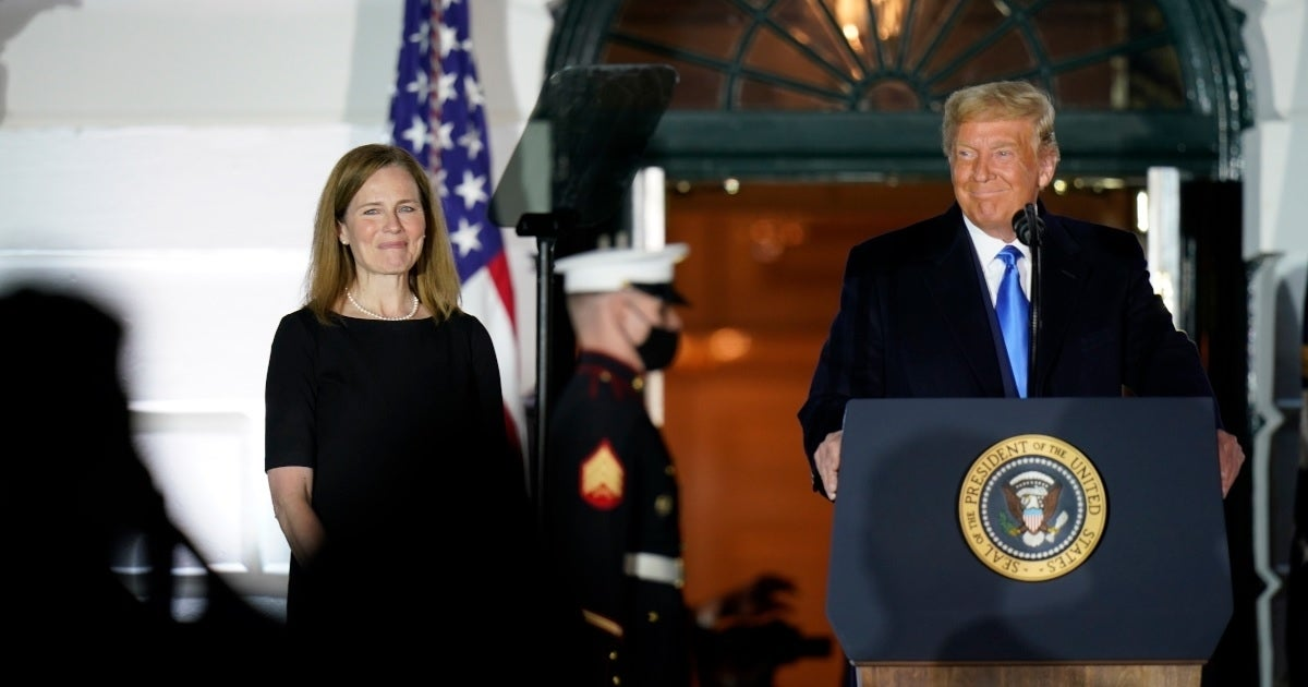 amy coney barrett swearing in getty images