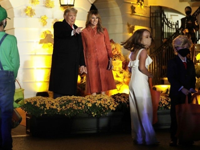 Donald and Melania Trump Welcome Trick or Treaters to the White House Ahead of Election Day
