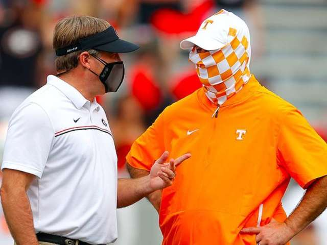 Tennessee Coach Jeremy Pruitt Catches Heat After Wearing Mask Over Everything But Face During Georgia Showdown