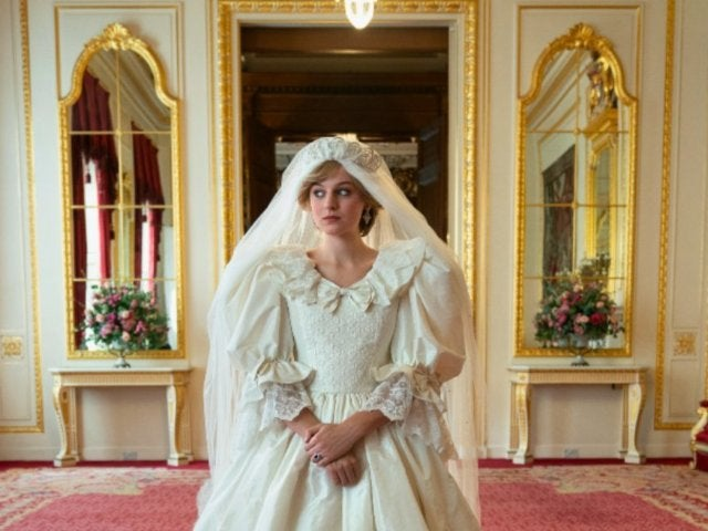 'The Crown': First Look at Princess Diana's Wedding Dress Revealed