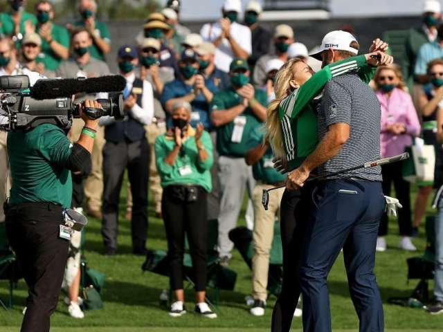 The Masters: Dustin Johnson Kisses Paulina Gretzky After Winning Tournament