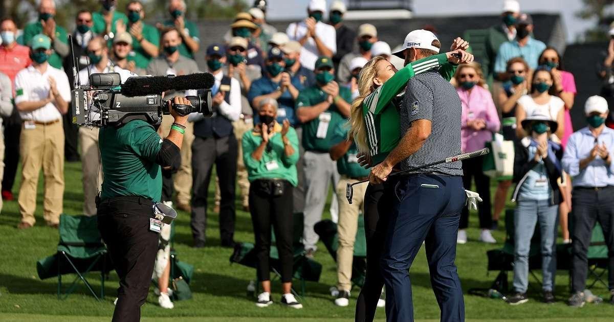 2020 Masters Dustin Johnson kisses Paulina Gretzky winning tournament