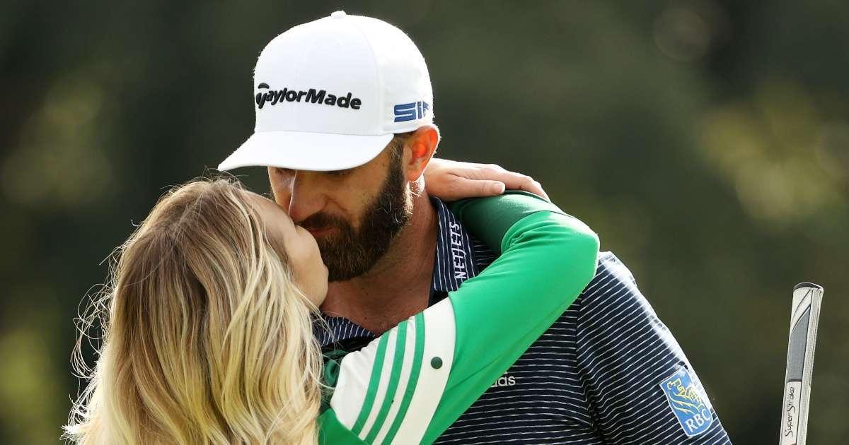Dustin Johnson Paulina Gretzky kiss Masters