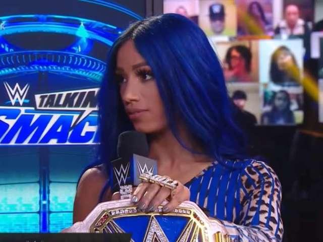 Sasha Banks Stuns in Blue Bandana-Inspired 'SmackDown' Outfit