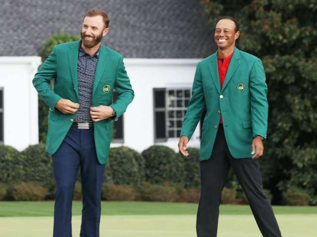 The Masters: Tiger Woods Celebrates Dustin Johnson's Championship