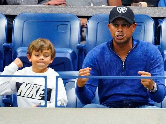Tiger Woods and Son Charlie Look Alike on Golf Course, and Social Media Loves It