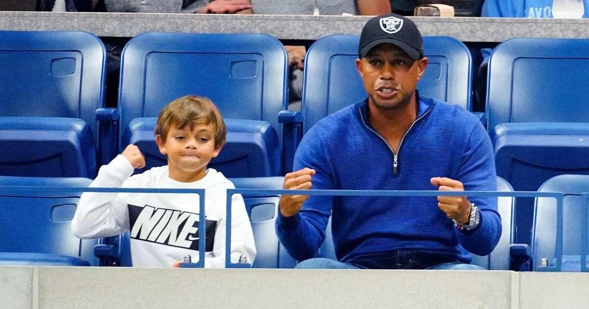 Tiger Woods son Charlie look alike golf course social media love