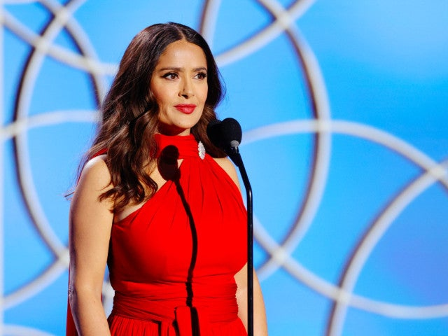 Salma Hayek Stuns in Red Gown While Presenting at the Golden Globes