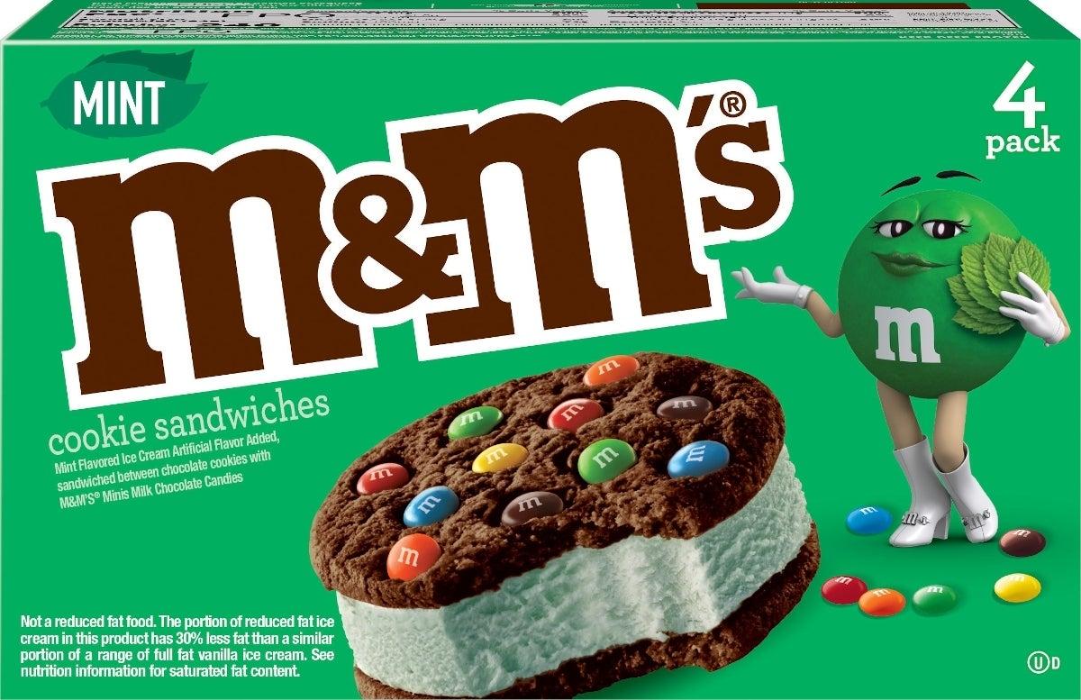 m&m's mint ice cream sandwich