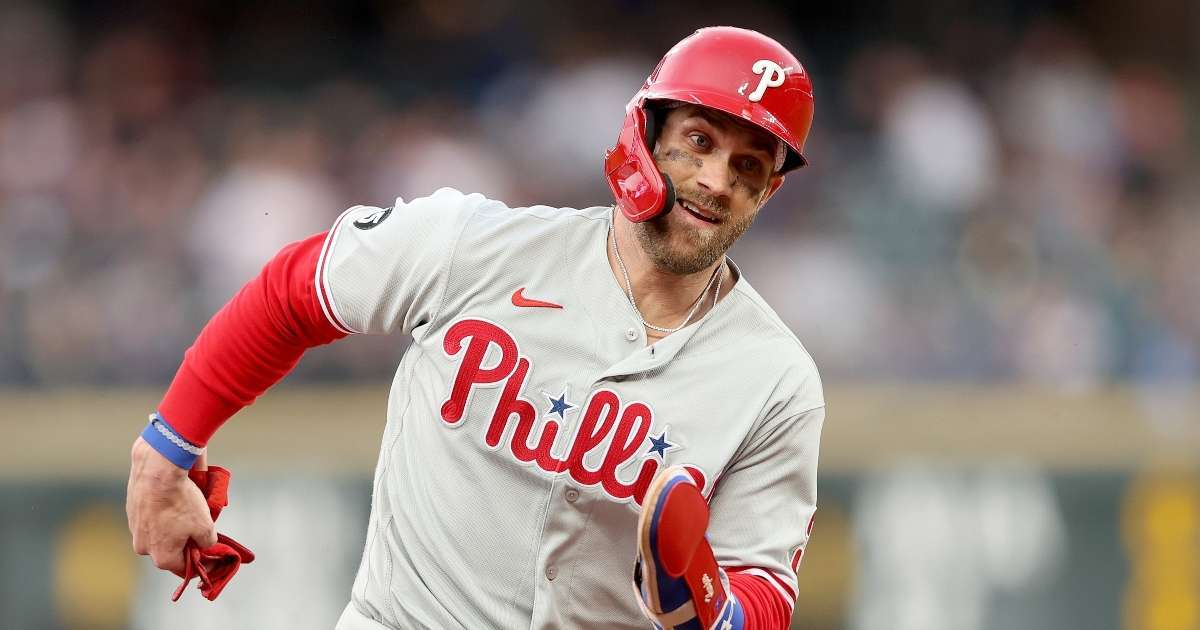 Bryce Harper Leaves game after getting hit face 97 MPH fastball shares update