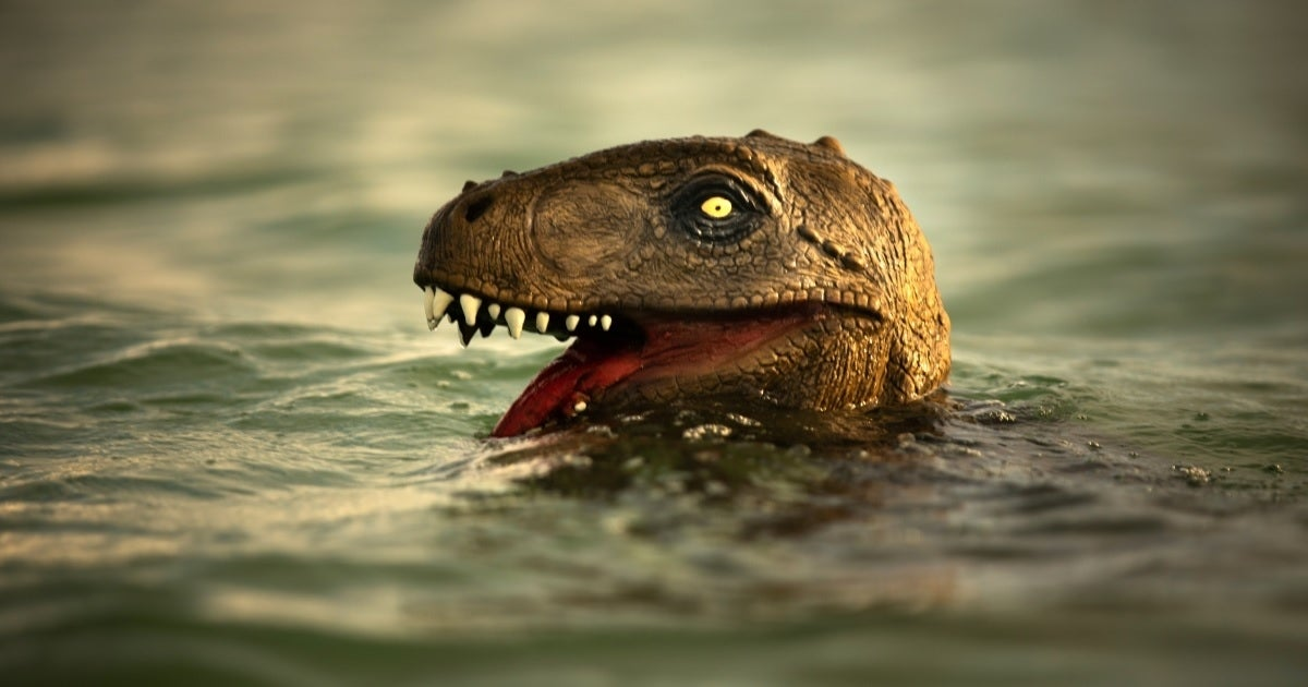 dinosaur in water getty images