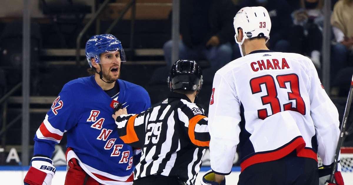 Rangers Capitals start game massive brawl