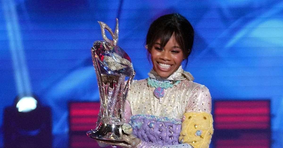 Gabby Douglas reacts Masked Dancer winner