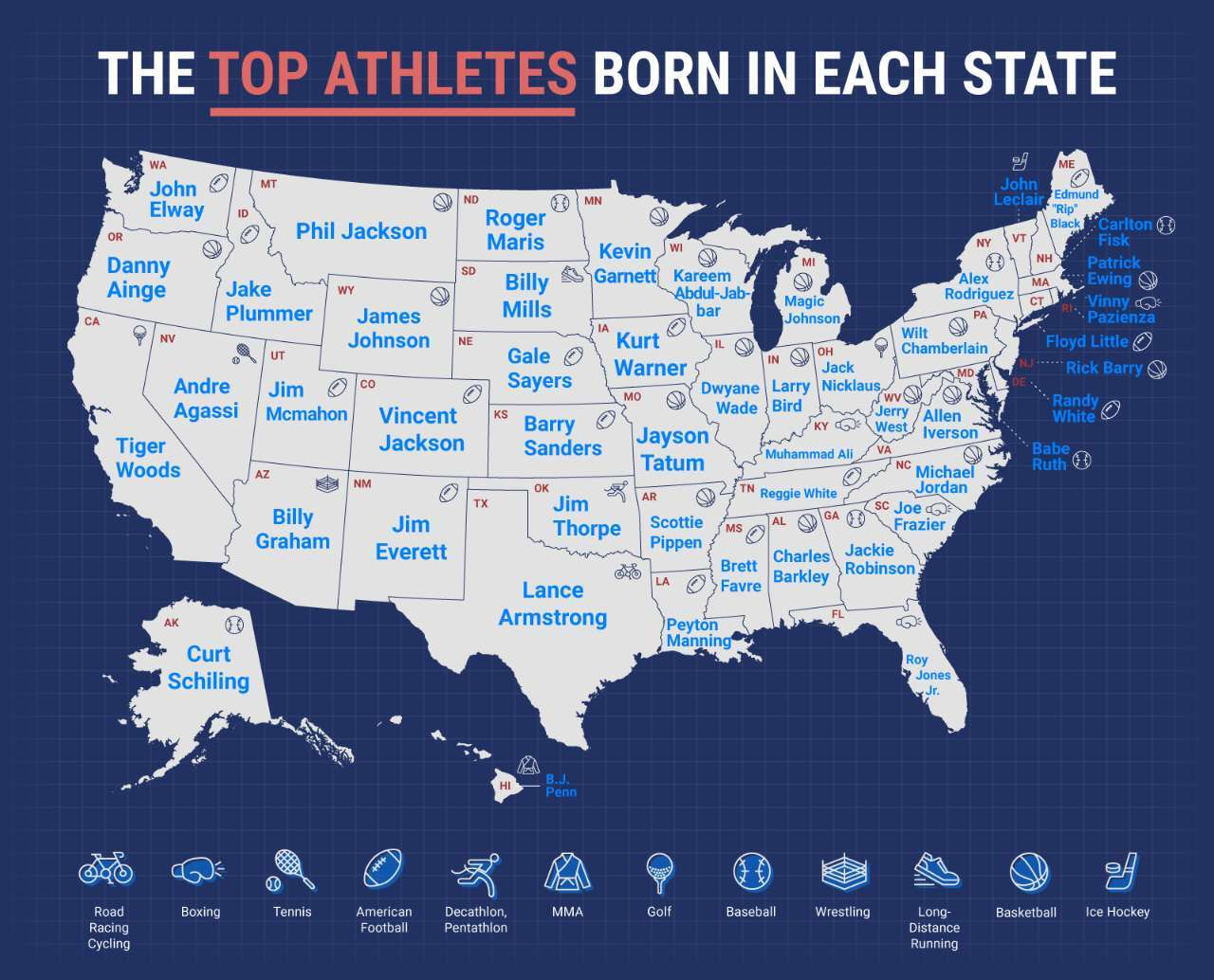 Most popular athlete map graphic