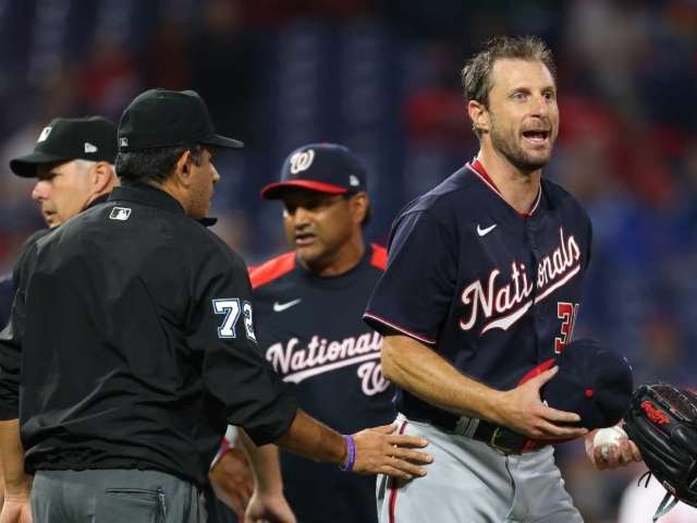 Washington Nationals' Max Scherzer Begins to Strip On-Field After Repeated Searches for Sticky Substances