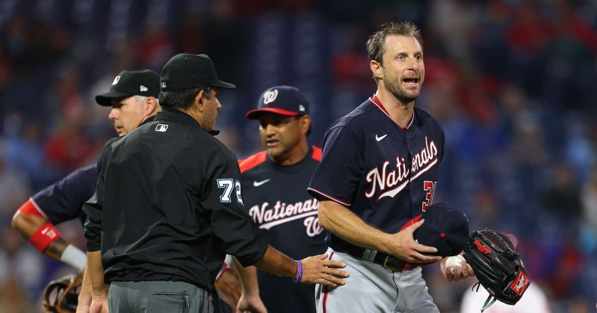 Washington Nationals' Max Scherzer Begins Strip On-Field After Repeated Searches Sticky Subst