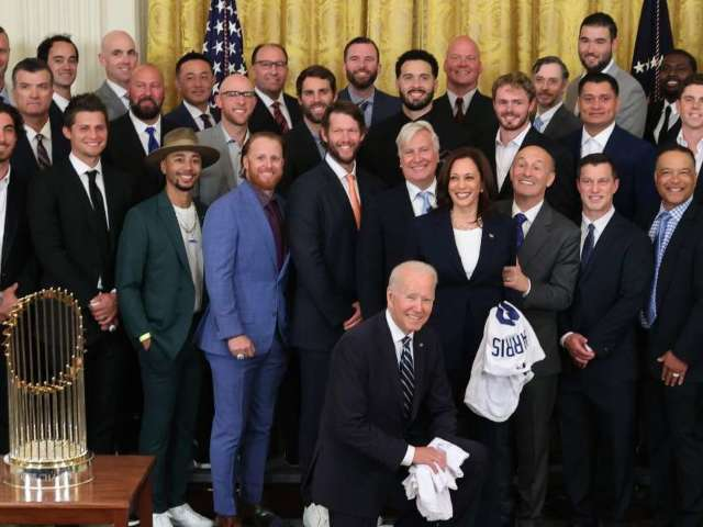 Los Angeles Dodgers Visit Joe Biden, White House to Celebrate World Series Win