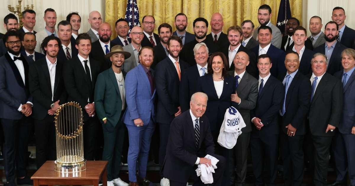 Los Angeles Dodgers visit Joe Biden White House celebrate World Series win