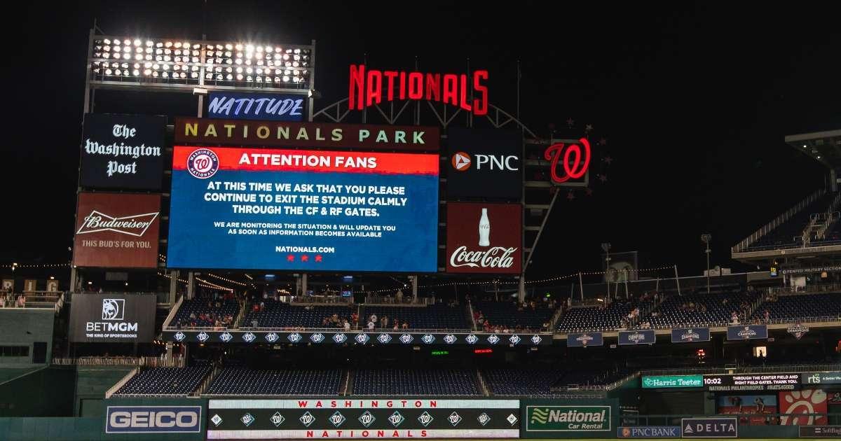 Washington Nationals game suspended shooting outside stadium