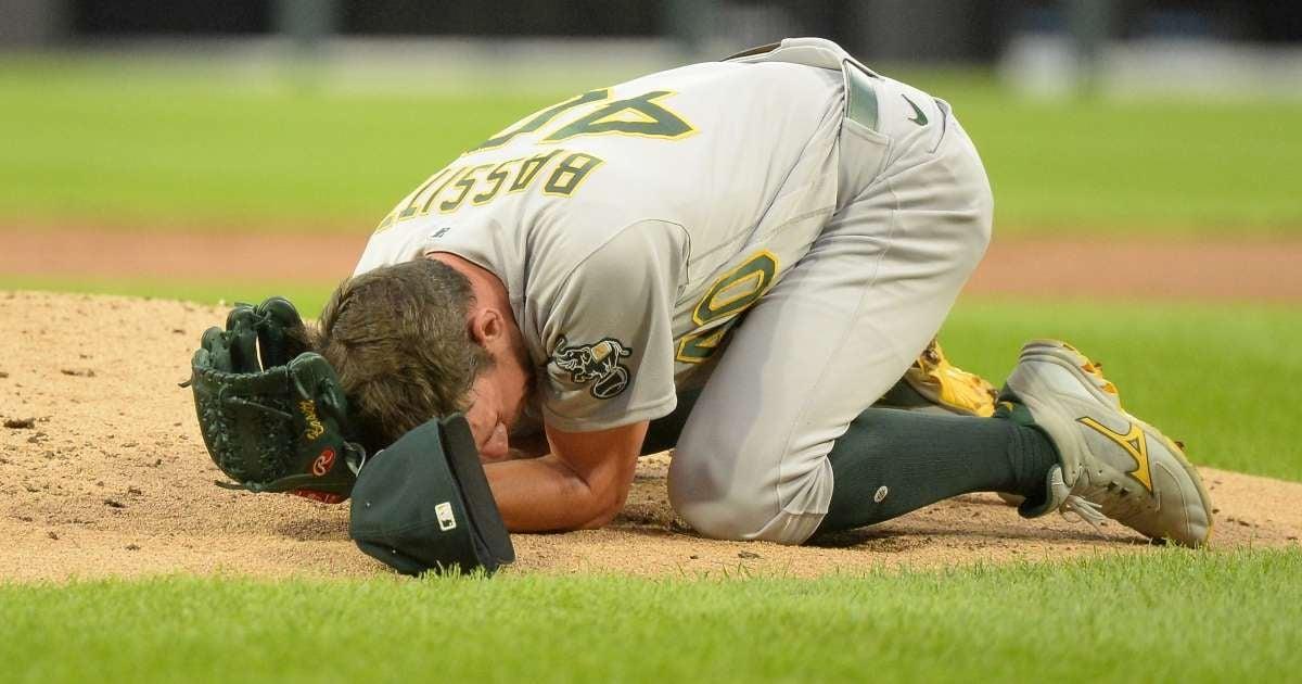 Chris Bassitt Oakland Athletics pitcher hospitalized 100 mph line drive face