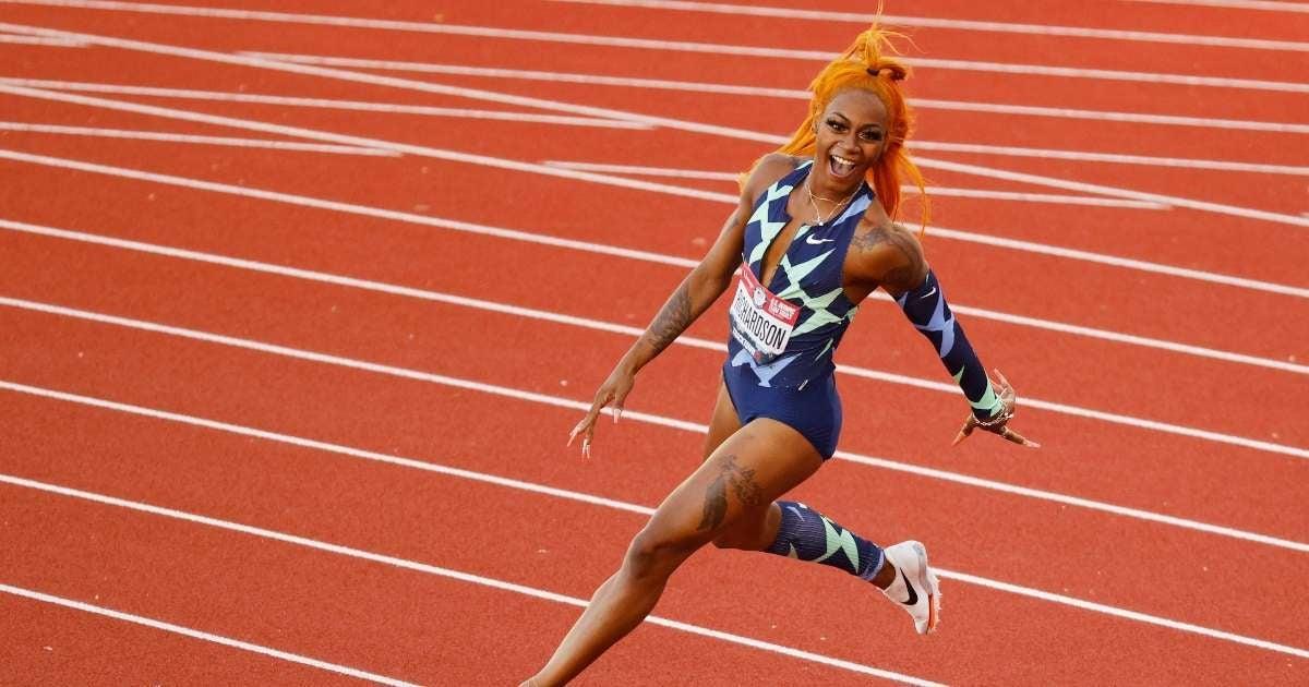 Sha'Carri Richardson racing Jamaiaan Champs Olympics